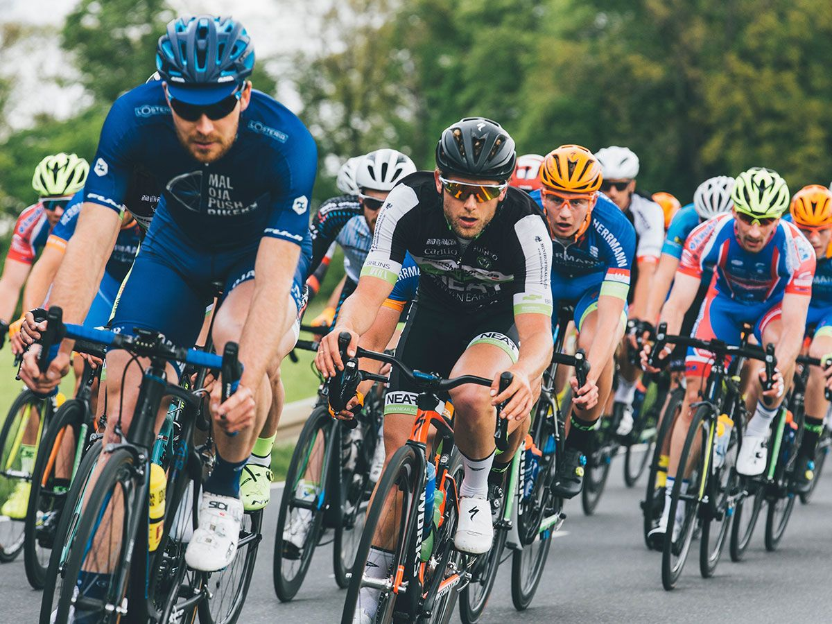 Road cyclists riding in a group during a race