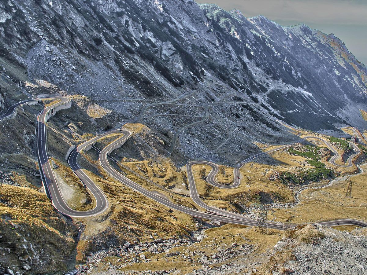 Hairpin turns of Transfăgărășan cycling climb