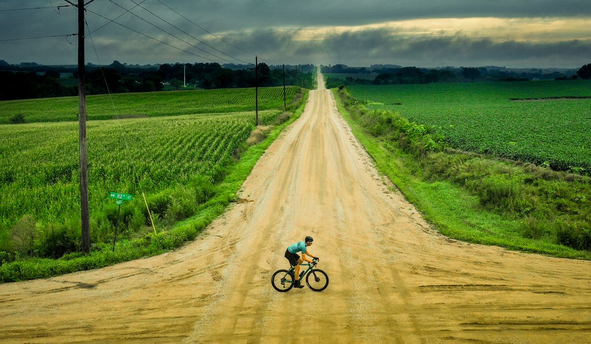 Cyclist riding on gravel
