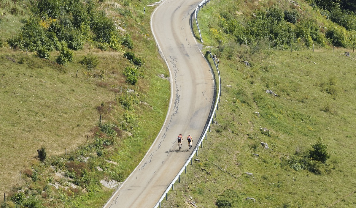Cyclists riding outside