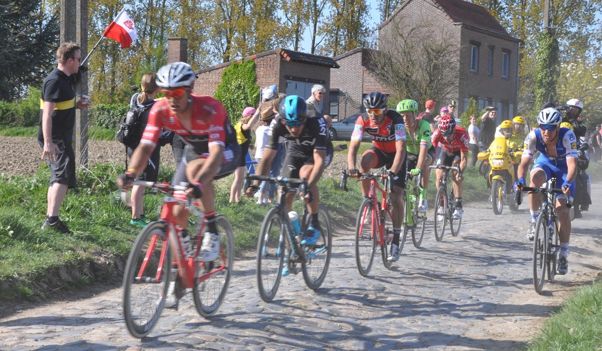 Greg van Avermaet riding at Paris Roubaix