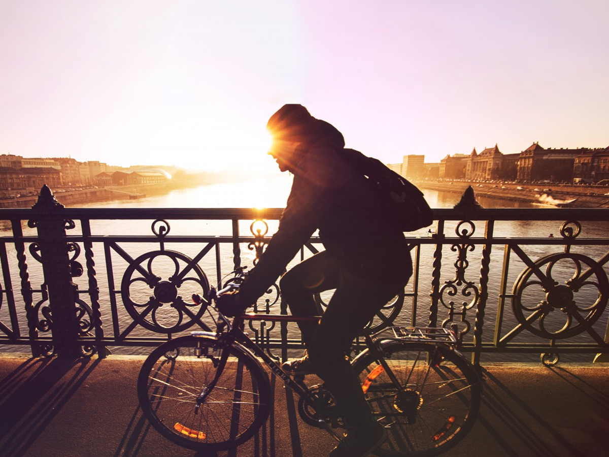 Cyclist riding in sunset