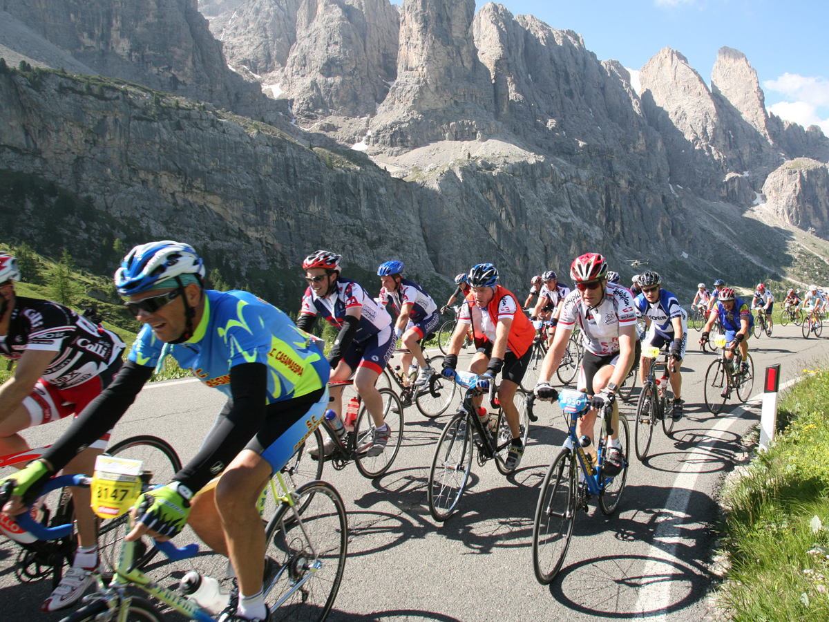 Cyclists riding in the mountains