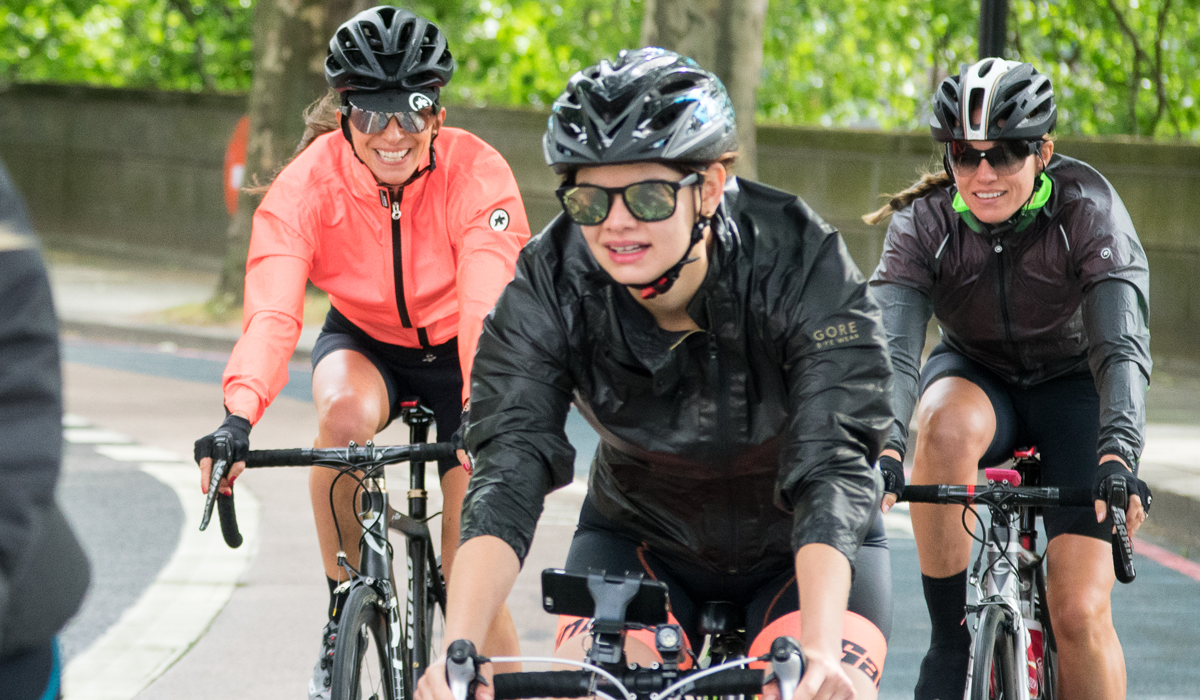 Women cyclists riding in London
