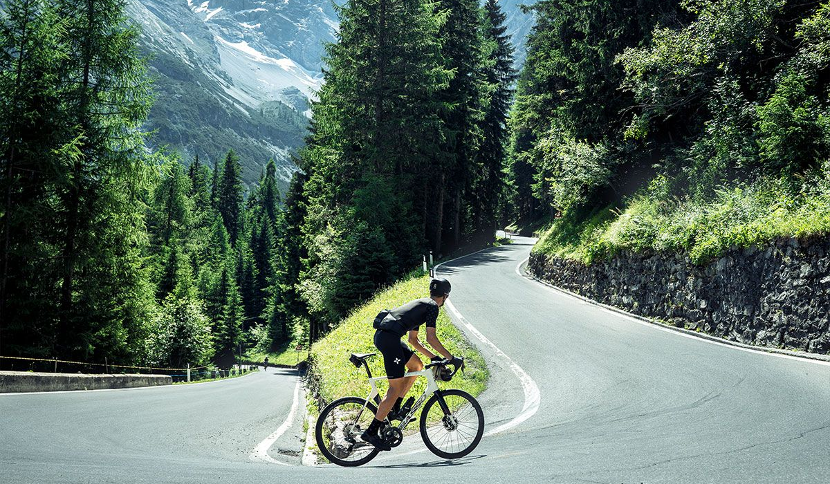 Cyclist riding up the Stelvio