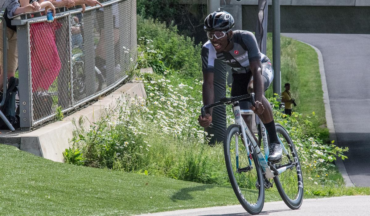 Cyclist racing on track bike