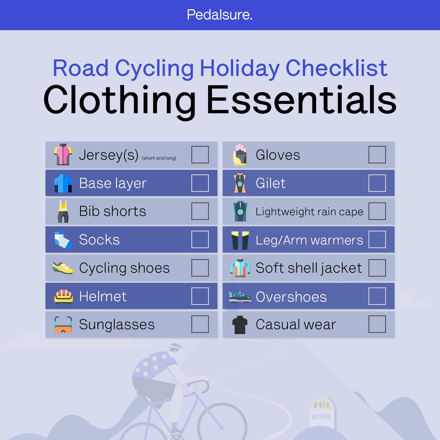 Cycling holiday clothing checklist