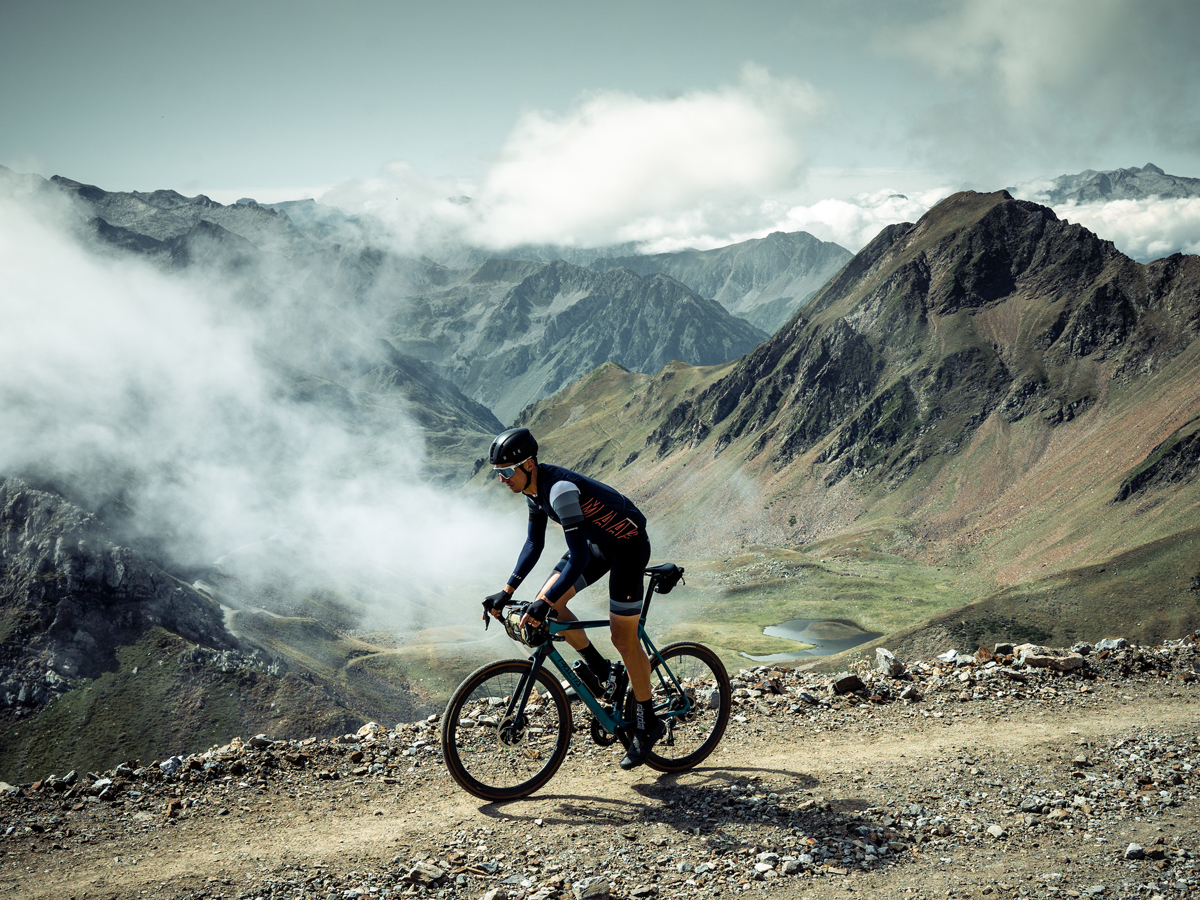 Cyclist in the French mountains