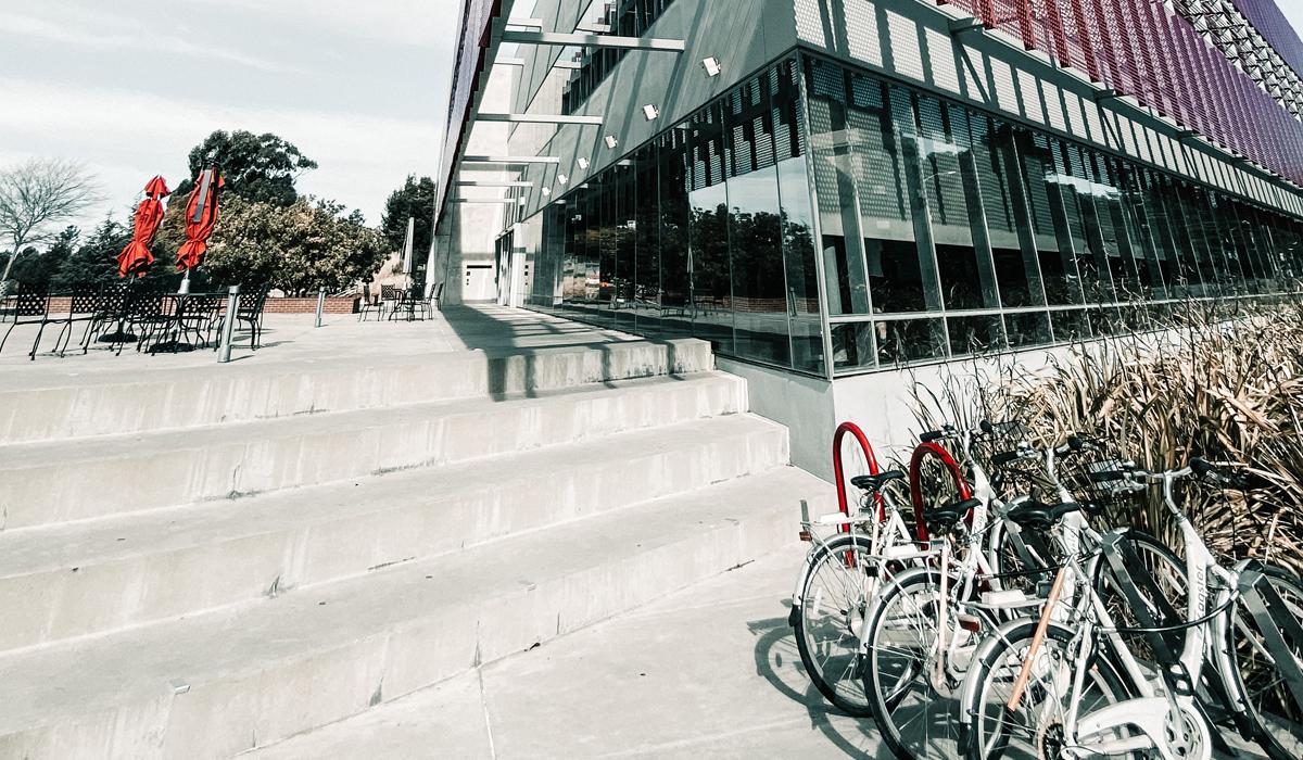 bikes locked outside school