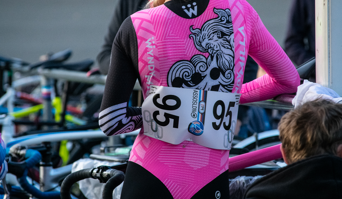Woman in cycling kit