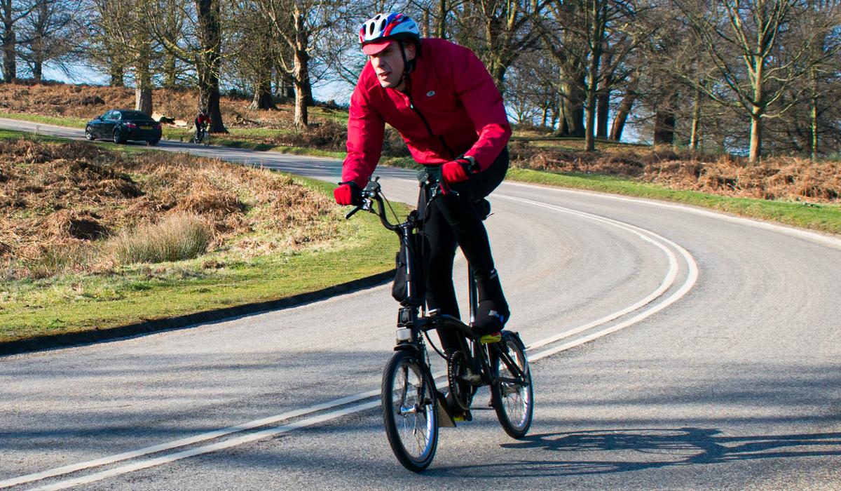Man cycling on Brompton