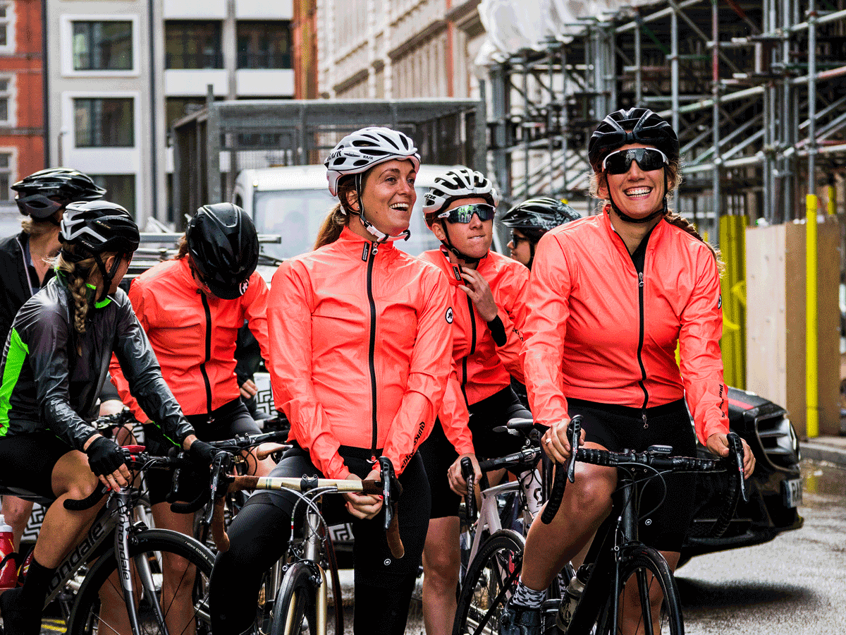 Women on road bikes