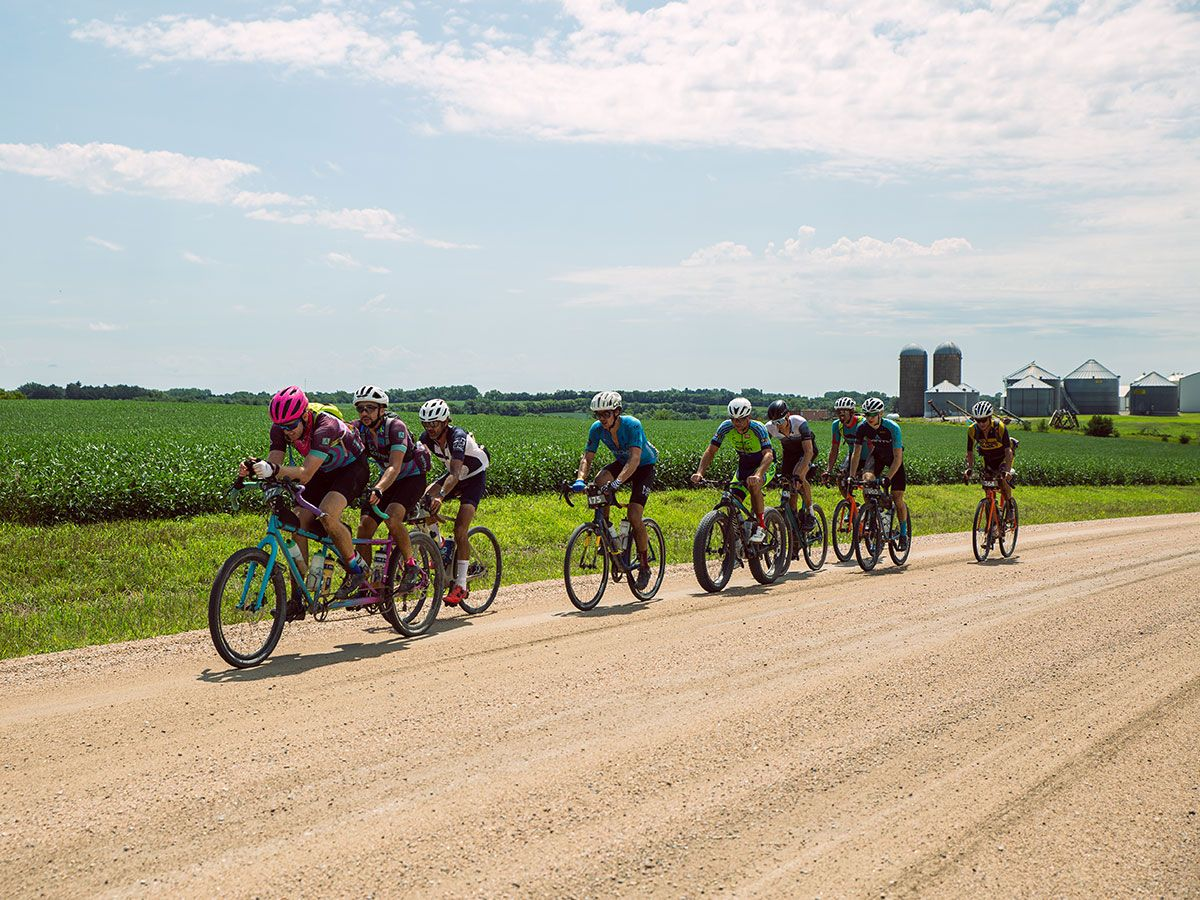 Cyclists racing on gravel at the Gravel Worlds in Nebraska