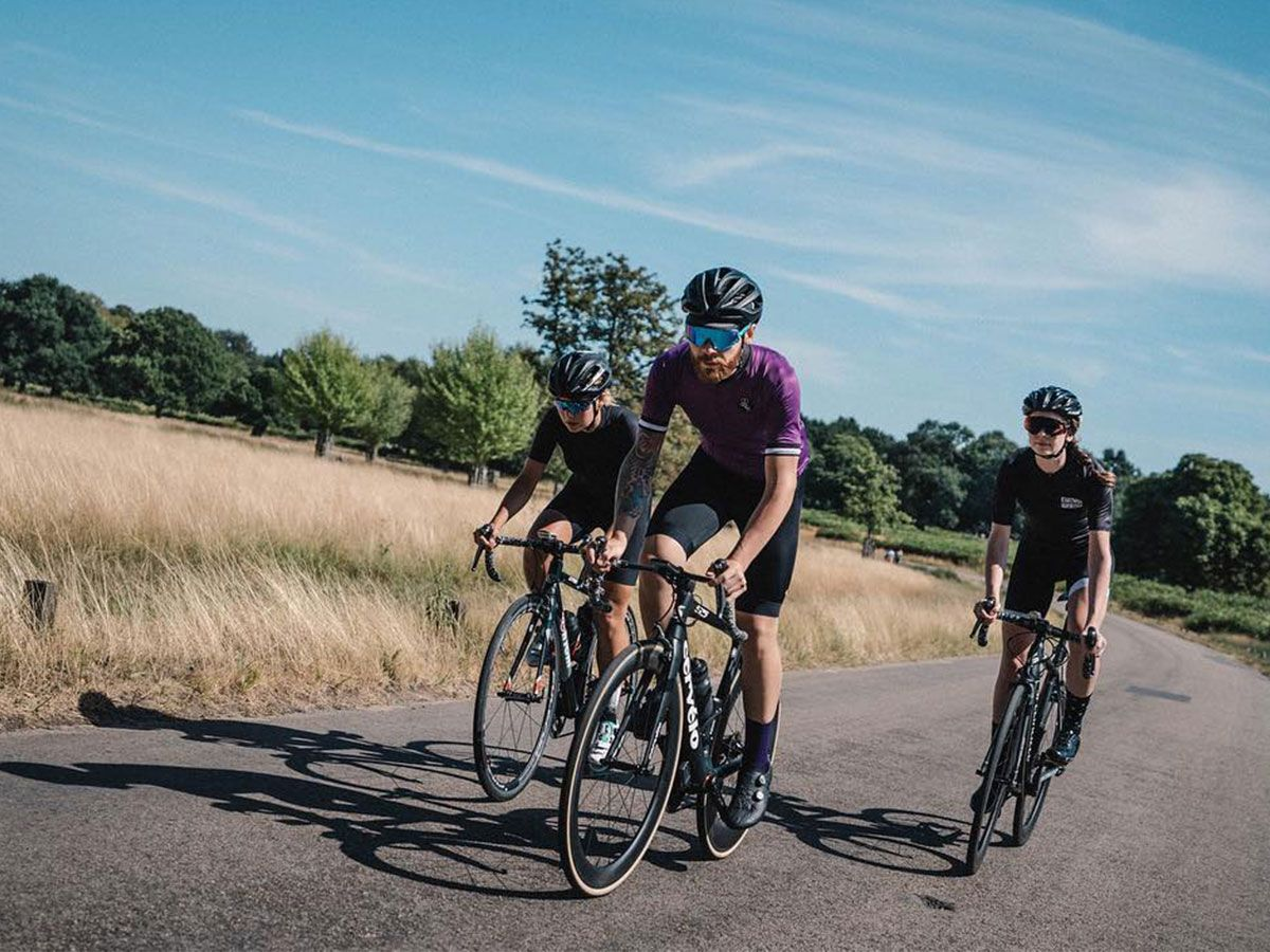 Cyclists cycling in Richmond Park