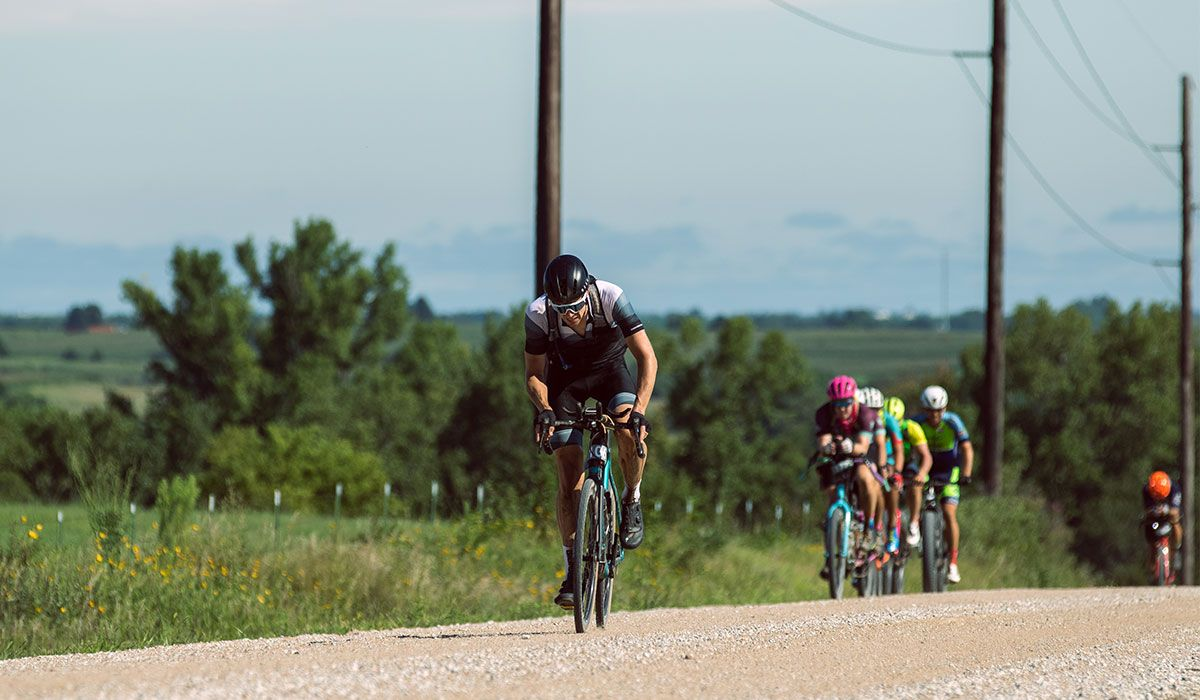 Cyclist riding gravel
