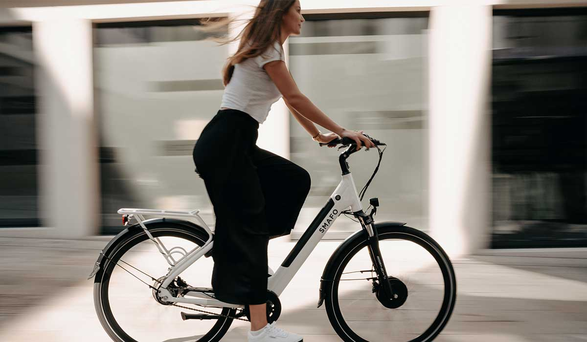 Woman riding e-bike